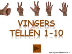 Digibordles vingers tellen 1 tot en met 10. http://digibordonderbouw.nl/index.php/themas/lichaam/lichaam/viewcategory/394-lichaam-digibordlessen