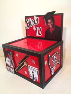 graduation party card box - personalized on the sides with the graduate's interests