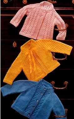 PDF Digital Knitting Pattern Emu 8193 3 Baby Jackets Coats 20-21 Double Knitting £1