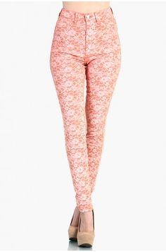 LoveMelrose.com From Harry & Molly | High Waist Floral Print Denim Jean Pants - Coral