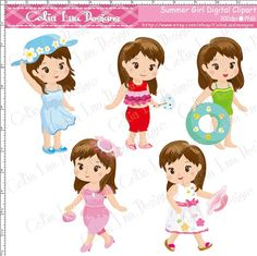 Summer Girl Clipart Cute Girl clip art for by CeliaLauDesigns, $5.00