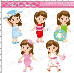 Summer Girl Clipart Cute Girl clip art for by CeliaLauDesigns, $5.00