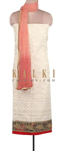 Buy Online from the link below. We ship worldwide (Free Shipping over US$100). Product SKU - 305795. Product Link - http://www.kalkifashion.com/cream-unstitched-suit-adorn-in-thread-and-zari-embroidery-only-on-kalki.html