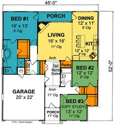 Our house plan except with a 2 door garage and a second floor!