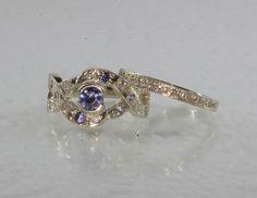 White Gold set with Tanzanite and Diamonds. Gold Set, Sapphire, Bands, Diamonds, White Gold, Wedding Rings, Jewelry, Jewlery, Bijoux