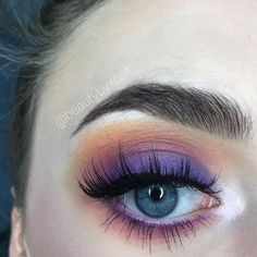 purple, pink, & orange colorful smokey eye, inspired by a sunset! used the morphe cosmetics 35b palette. insta: beautybyxcait