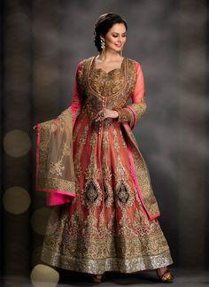 Voguish Net Pink Anarkali Salwar Suit