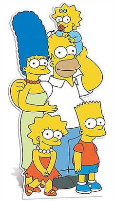 SIMPSONS FAMILY CUT OUT  The Simpsons Family cutout will look fantastic for any birthday party. Who doesn't like the Simpsons after all! Marge, Lisa, Homer, Maggie and Bart are all within the cutout.  Made from strengthened cardboard the cutout is very durable and has an attached easel on the back for support.
