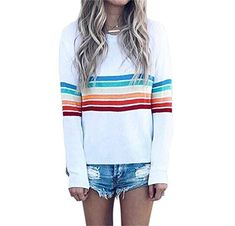 60ed33418e3dd0 Shop a great selection of Women Casual Top Stripe Printed Crew Neck Long  Sleeve Loose Fit Fashion Shirt Blouse. Find new offer and Similar products  for ...
