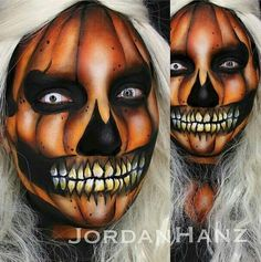 Halloween Face Makeup. Creepy Makeup. Pumpkin Face. Big smile.