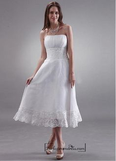 Beautiful Organza & Lace A-line Strapless Empire Waist Tea Length Wedding Dress