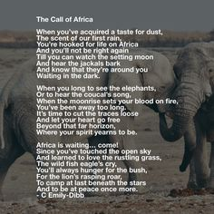 """Poem : """"The Call of Africa"""" - by C. Africa Drawing, Africa Painting, Traveling With Baby, Traveling By Yourself, Africa Quotes, Quotes About Africa, African Poems, Africa People, African Proverb"""