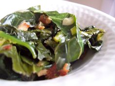another braised greens recipe. Chinese Eggplant Recipes, Veggie Recipes, Salad Recipes, Braised Greens, Andouille Sausage Recipes, Poke Salad, Southern Recipes, Southern Food