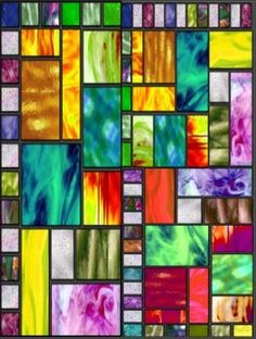stained glass quilt using batiks  I like the use of bright batiks.