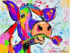 Vrolijk schilderij koe