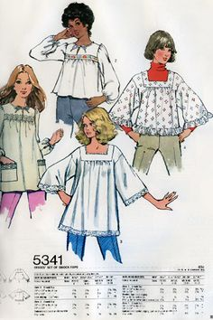 1970s Style File: Smock tops with billowed sleeves, lace edging or eyelet details pulled off a pretty peasant look.