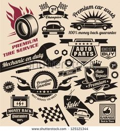 Vector set of vintage car symbols. Car service and car sale retro labels and icons. Vintage collection of car related signs and symbols with various design elements, ribbons and emblems.