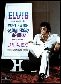 Elvi Presley at a press conference in Las Vegas in 1972 for the 'Aloha from Hawaii' benefit concert in January 1973.