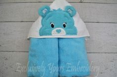 Blue Bear Children's Hooded Towel - pinned by pin4etsy.com