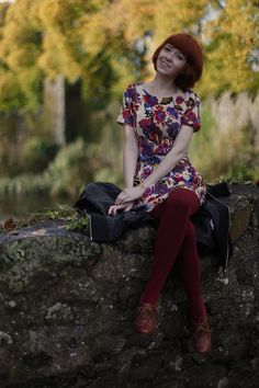 The Clothes Horse: All Good Things Come To An End :: Choies Retro Floral Dress With Zip Back; Raspberry tights; Cognac heeled oxfords