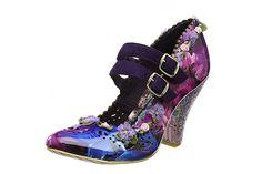 Irregular Choice Inside Out Blue Purple High Heel Mary Jane Flower Shoes