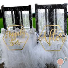 HAPPILY EVER AFTER Wedding Chair Sign Set by FAVOURGRAM on Etsy Wedding Chair Signs, Wedding Chairs, Buntings, Happily Ever After, Our Wedding, This Is Us, Bride, Etsy, Decor