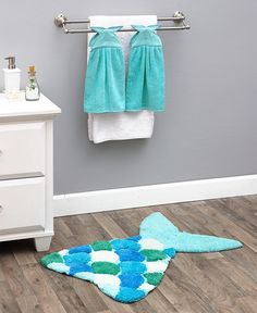 Mermaid Tail Bath Rugs or Towels