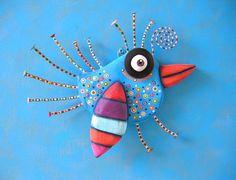 Bluebird brillante, hecho a la medida, escultura Original del objeto encontrado, pared arte, talla en madera, decoración de la pared, escultura de pájaro, Fig Jam Studio
