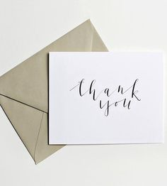 Thank You Calligraphy Notecards – Set of 5 | Pen a quick thank-you note to a dear friend with one of these ... | Greeting Cards