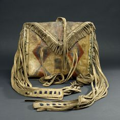 Blackfoot Flat Case With Side Fringe, 1885 American Apparel Style, Native American Clothing, Native American Crafts, Native American Artifacts, Native American Beadwork, Native American Tribes, Blackfoot Indian, Indian Artifacts, American Spirit