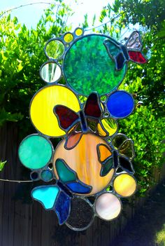 Stained Glass Sun Catcher 3D Glass Butterfly Suncatcher Bubbles Circles Tiffany Glass Art Garden Decoration Free Shipping Gift Idea - pinned by pin4etsy.com