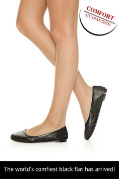 Zeus is the most comfortable black ballet flat you will ever wear. Comfortable Flats, Black Ballet Flats, Confident, Looks Great, Zero, Kitten Heels, Slippers, Comfy, Pairs