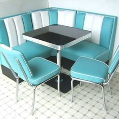Bel Air Hollywood Corner Booth Set – 130 x 130 Booth Seating In Kitchen, Kitchen Booths, Corner Seating, Built In Seating, Small Kitchen Redo, 50s Kitchen, Retro Kitchens, Kitchen Nook, Dining Table Makeover