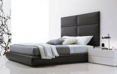 Small Bed for Modern Bedroom – Fusion by Presotto: Small Bed For Modern Bedroom – Fusion By Presotto With White And Grey Bed And Nightstand And Fabric Headboard