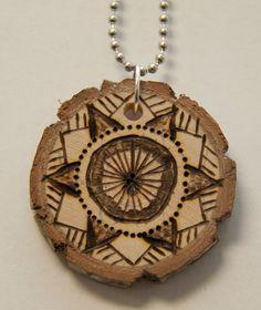 Mandala 9. $18.00, via Etsy.    pyrography, wood burned necklace, handmade