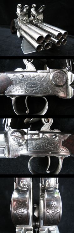 "Gun that dear Grand pulls out to protect Margaret? Exceptionally Rare Pair of 4 Barrelled Flintlock Pistols In Fine Condition By ""Bunney of London"", Circa Rifles, Flintlock Pistol, Cool Guns, Knives And Swords, Guns And Ammo, Shotgun, Arkansas, Firearms, Hand Guns"
