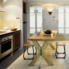 rustic kitchen, industrial lighting, salvaged table