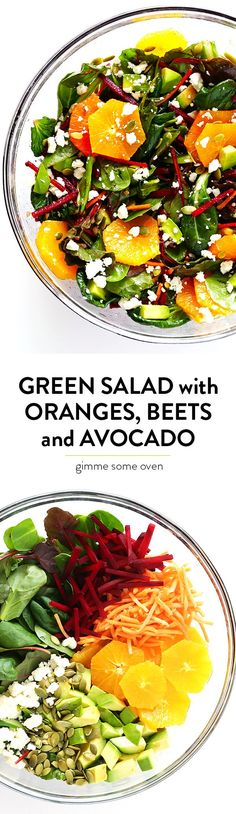 Green Salad with Oranges, Beets and Avocado -- easy to make, tossed with a balsamic vinaigrette, and so fresh and delicious! | gimmesomeoven.com
