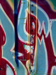 Train Tag 16 Macro - Street Art Photography - Red White Blue Patriotic - Abstract Urban Graffiti - Urban Decay - Fine Art Photography