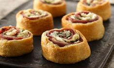 Mediterranean flavors burst through layers of pastry in these pretty pinwheels. Easy Steak Recipes, Easy Appetizer Recipes, Appetizers For Party, Campbell's Cream Of Chicken, Salisbury Steak Recipes, Pinwheel Recipes, How To Cook Ham, Food Lists