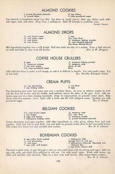 Vintage Recipes: 96 Cookie Recipes from 1940 Retro Recipes, Old Recipes, Vintage Recipes, Cookbook Recipes, Sweet Recipes, Baking Recipes, Delicious Recipes, Family Recipes, Vintage Menu