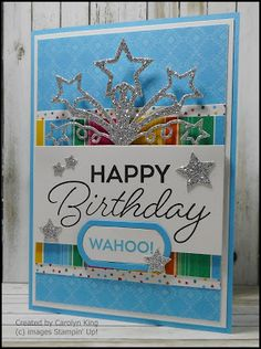 Hi everyone, I went a little crazy making cards for the Ronald McDonald House Charity. This is the design of the Birthday Blast stamp. Birthday Blast, Birthday Star, Male Birthday, Homemade Greeting Cards, Homemade Cards, Birthday Cards For Men, Handmade Birthday Cards, Star Cards, Stamping Up Cards