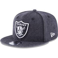 2eb9c529e2156 Oakland Raiders New Era Heathered Rugged 9FIFTY Adjustable Snapback Hat -  Black