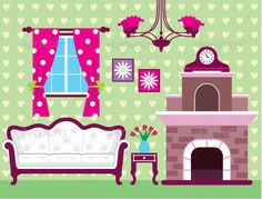 Image of Interior Living Room - Objects Vectors Doll Furniture, Living Furniture, Living Room Interior, Paper Doll House, Paper Houses, Living Room Objects, Living Rooms, Baby Annabell, Diy And Crafts