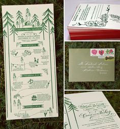 I like this invitation for a weekend camping wedding. The layout (with the dotted trail) is cute.