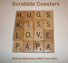 Scrabble Tile Coasters - Making Memories With Your Kids Scrabble Coasters, Scrabble Tile Crafts, Scrabble Letters, Tile Coasters, Cute Crafts, Crafts To Make, Thing 1, Valentine Day Crafts, Valentine Ideas
