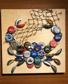Excited to share this item from my shop: Bottle Cap Mini Crab Design in Unfinished Art Cradle Wood Beer Cap Art, Beer Caps, Beer Bottle Crafts, Crafts With Bottle Caps, Bottle Cap Art, Displaying Collections, Crafts To Do, Small Gifts, Sea Theme