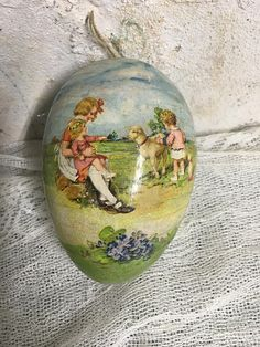 Vintage Easter Egg Victorian Paper Mache Germany Gorgeous
