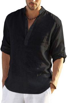 Black Shirt Outfit Men, Blue Shirt Outfits, Beach T Shirts, Stylish Mens Outfits, Henley Shirts, Look Cool, Workout Shirts, Long Sleeve Shirts, Loose Shirts