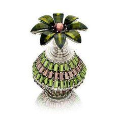 Perfume Bottle (Green Bottle with Decorative Flower Stopper)